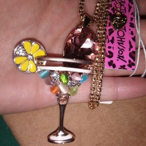NWT Betsey Johnson Martini Necklace